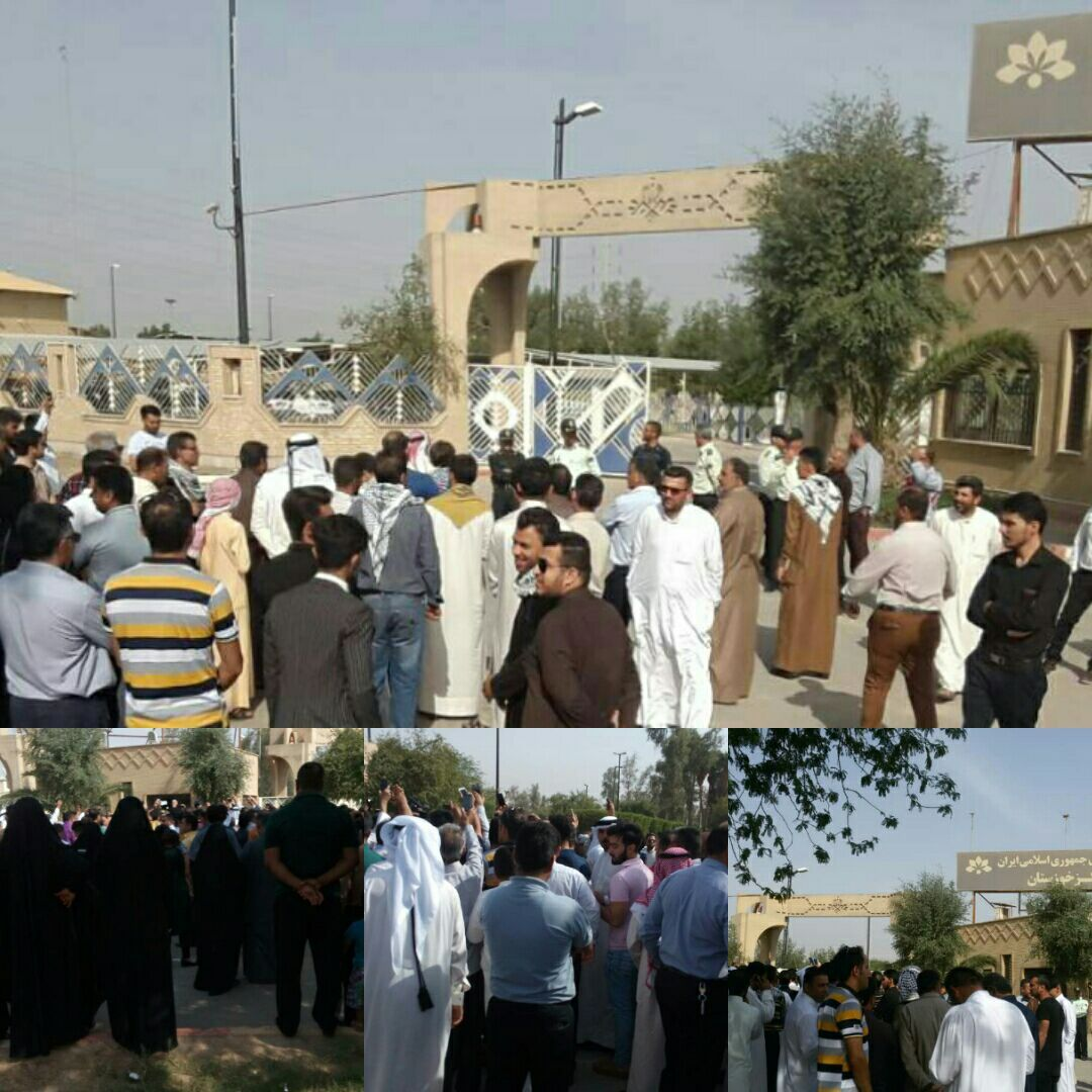 Ahwazi Arab protest in front of IRIB building against an insulting TV program